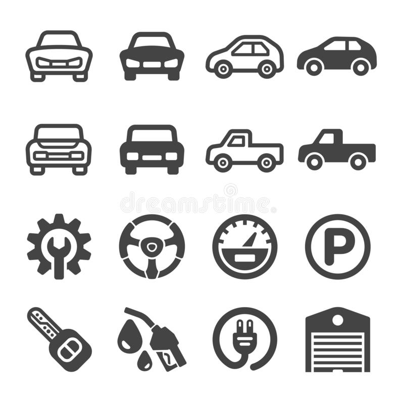 Car icon set. Vector and illustration royalty free illustration