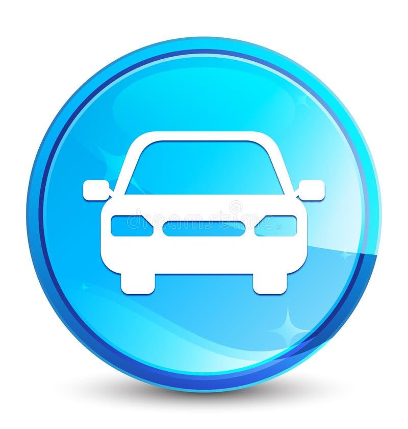 Car icon splash natural blue round button. Car icon isolated on splash natural blue round button abstract illustration stock illustration