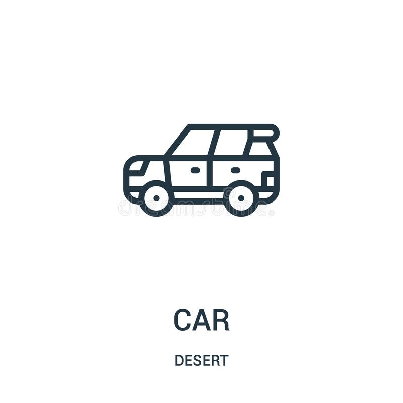 car icon vector from desert collection. Thin line car outline icon vector illustration. Linear symbol for use on web and mobile royalty free illustration
