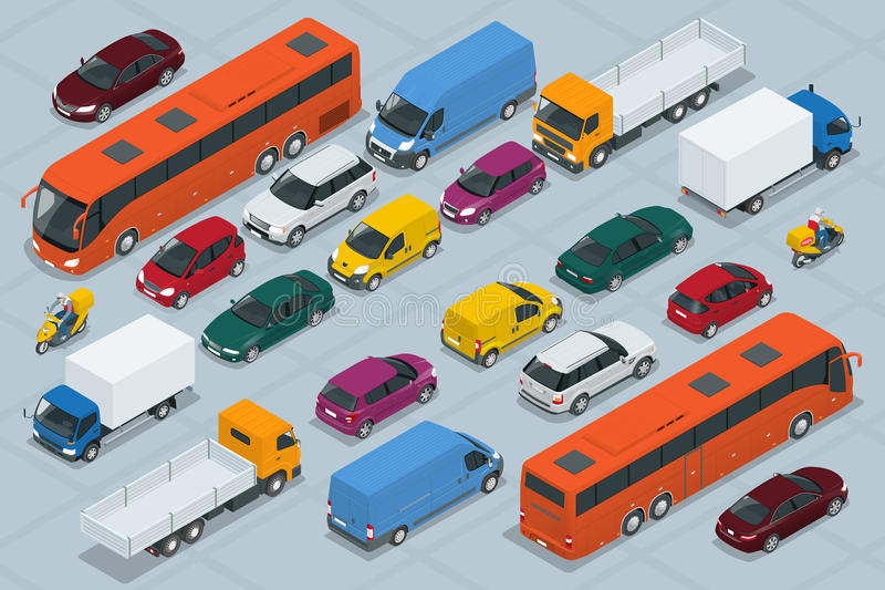 Car icons. Flat 3d isometric high quality city transport car icon set. Car, van, cargo truck, off-road, bus, scooter royalty free illustration