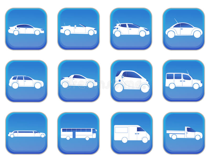 Car icons 1. A set of car icons royalty free illustration