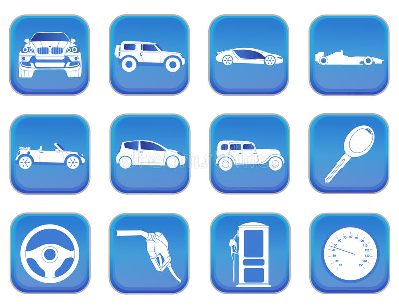Car icons 2. A set of car icons stock illustration