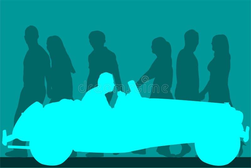 Car illustration. Vintage car with people walking in the background vector illustration