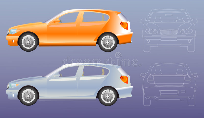 Car illustration blue print. Front , rear and side view ,adobe illustrator file eps 8 uploaded royalty free illustration