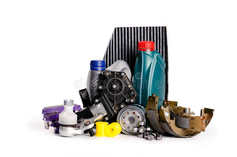 Car inspection, spare parts, car accessories, air filters, brake disc,. Headlights royalty free stock photography