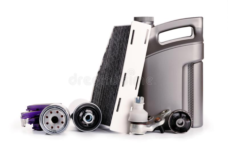 Car inspection, spare parts, car accessories, air filters, brake disc, headlights. Car inspection, spare parts, car accessories, air filters, brake disc royalty free stock photos
