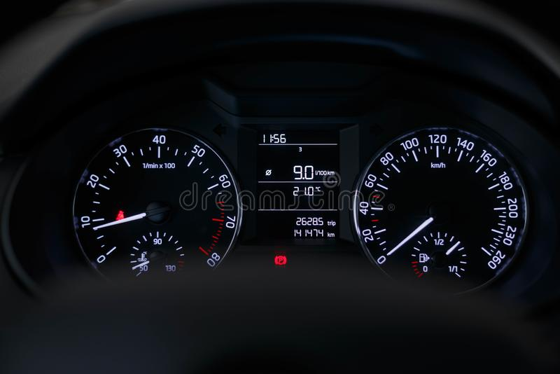 Dashboard car with a beautiful white light royalty free stock photography