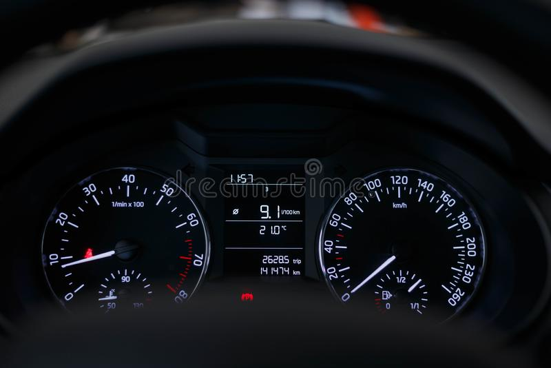 Dashboard car with a beautiful white light stock photo