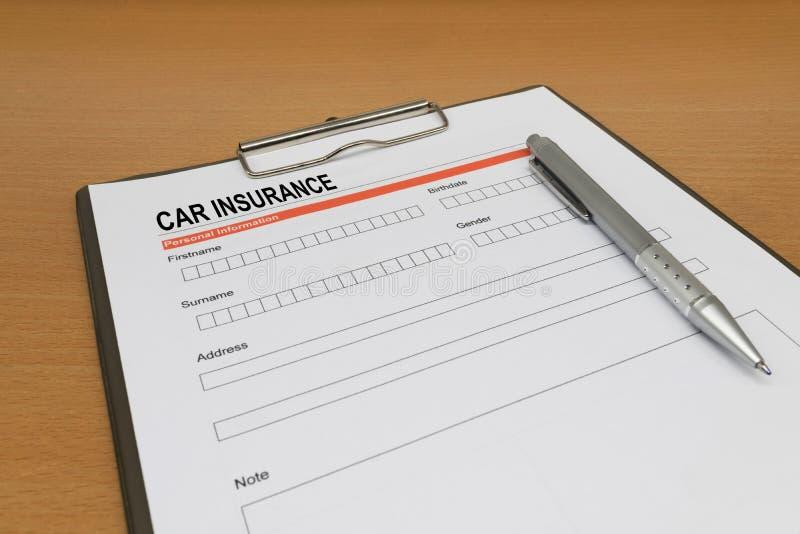 Car Insurance application form. Closeup stock image