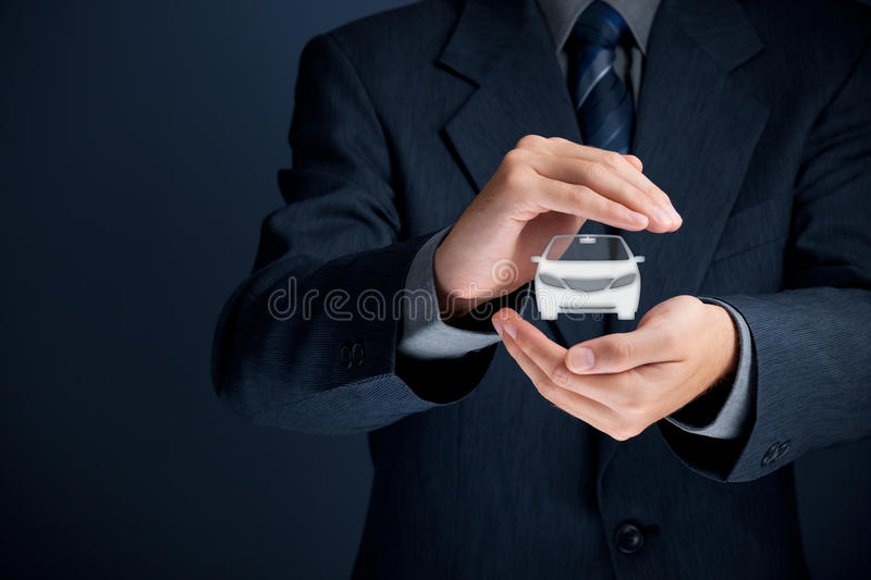 Car insurance. Car (automobile) insurance and collision damage waiver concepts. Businessman with protective gesture and icon of car royalty free stock photos