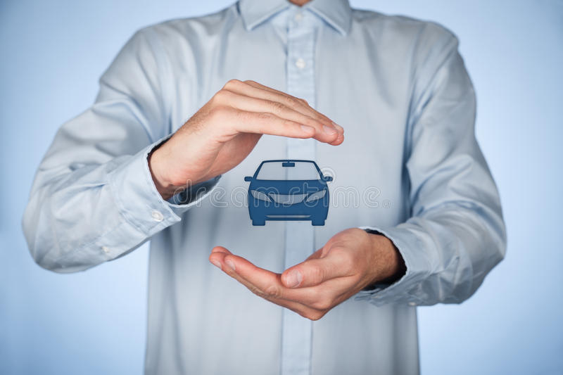 Car insurance. Car (automobile) insurance and collision damage waiver concepts. Businessman with protective gesture and icon of car royalty free stock images