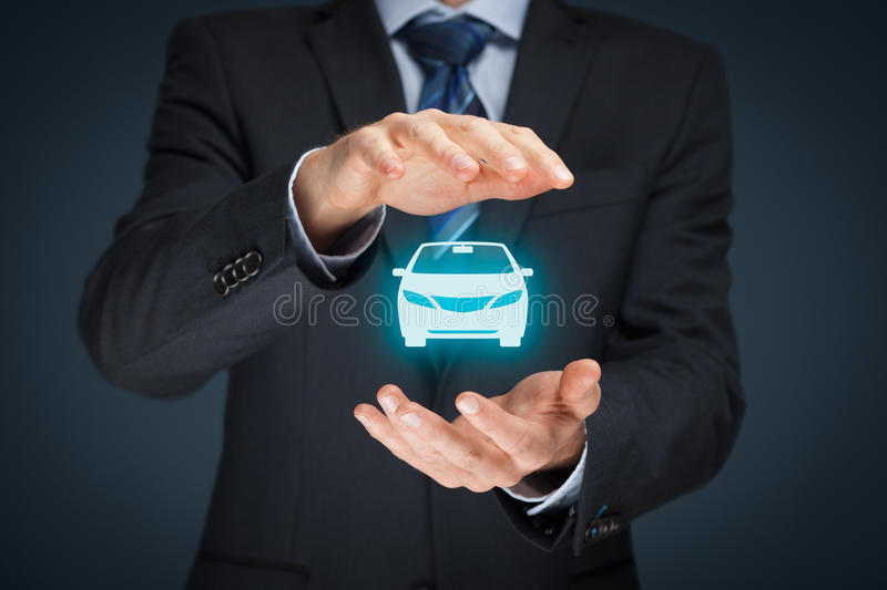 Car insurance. Car (automobile) insurance and collision damage waiver concepts. Businessman with protective gesture and icon of car royalty free stock photography
