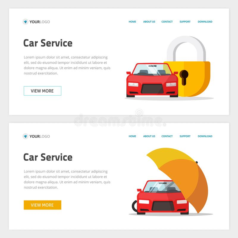 Car insurance or automobile protection service website template design vector layout or mockup, flat cartoon web site vector illustration