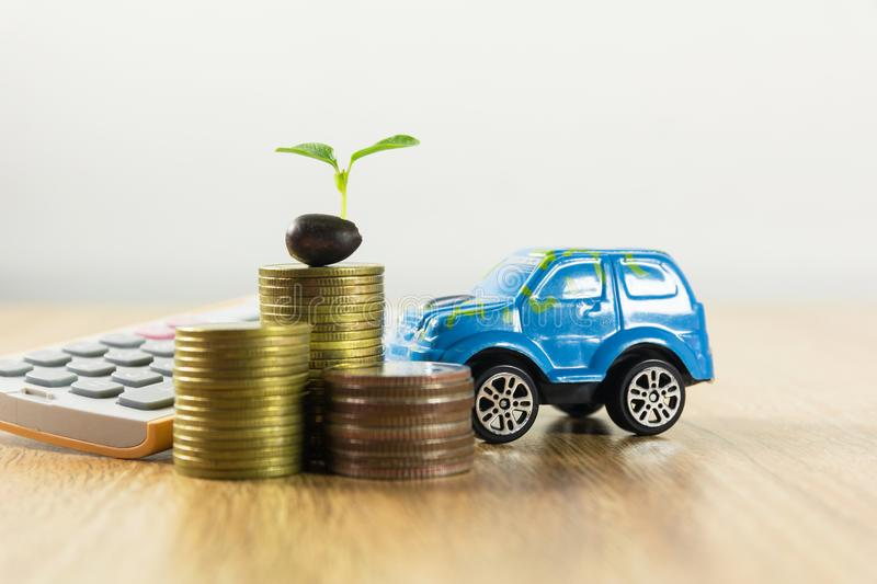 Car insurance and car services concept. Business concept. Toy car insurance concept stock photography