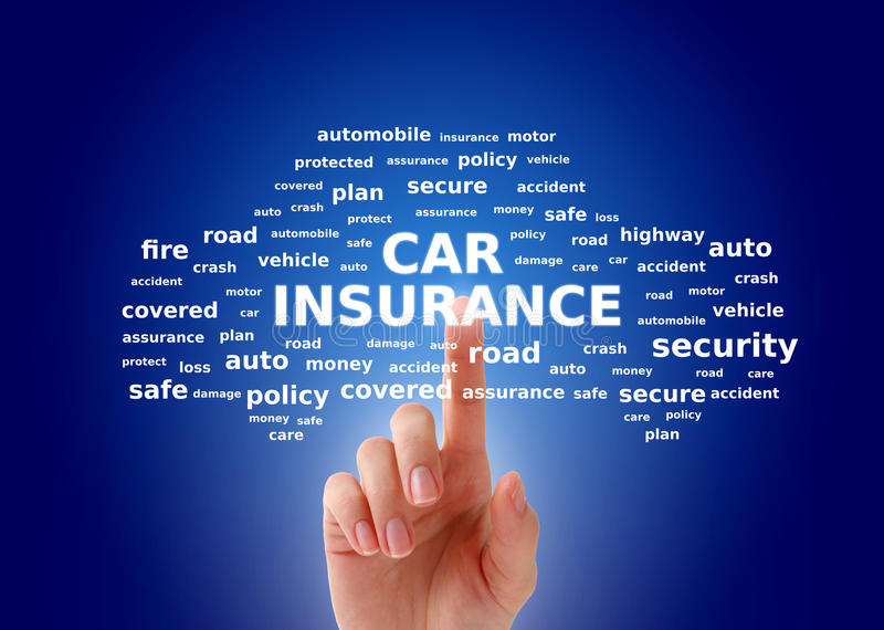 Car insurance. Collage. Tags cloud over blue background royalty free stock image