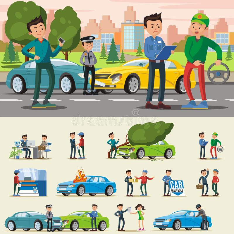 Car Insurance Composition stock illustration