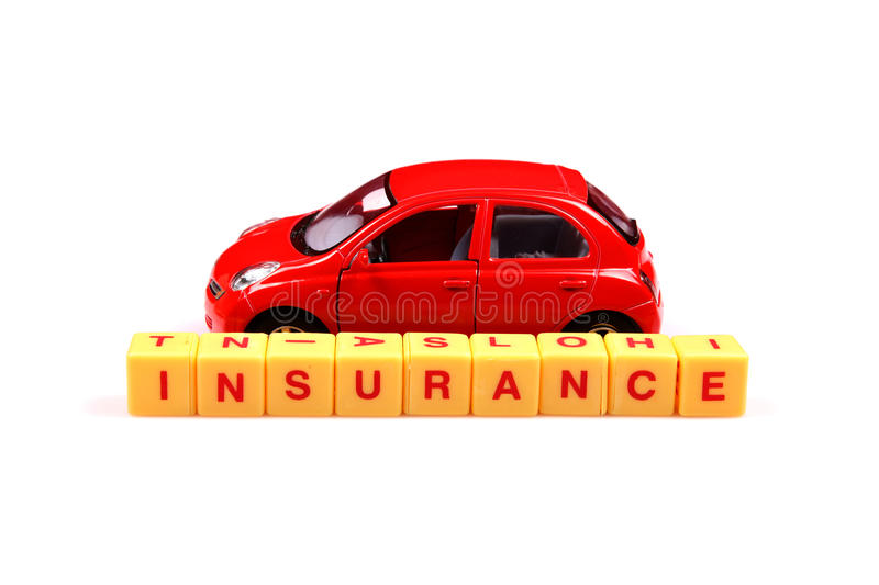Car insurance concept. Concept pic of car insurance isolated on white background stock photo