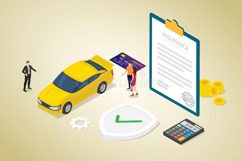 Car insurance concept with car and contract paper with team people and modern isometric flat style - vector royalty free illustration