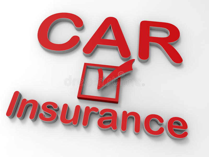 Car insurance concept. 3D rendered illustration for the concept of car insurance. The composition uses a 3D embossed CAR insurance text and a check box isolated vector illustration