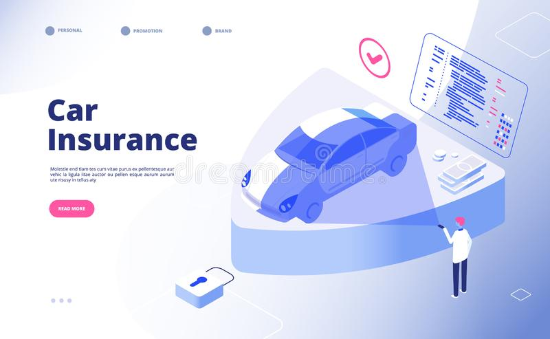 Car insurance concept. Damaged crash fire flood thief cars accident auto insurance security automobile claim form vector stock illustration