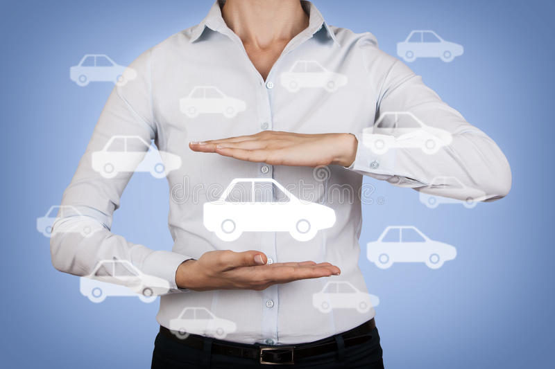 Car Insurance Concept Between Human Hand. On working business concept stock photos