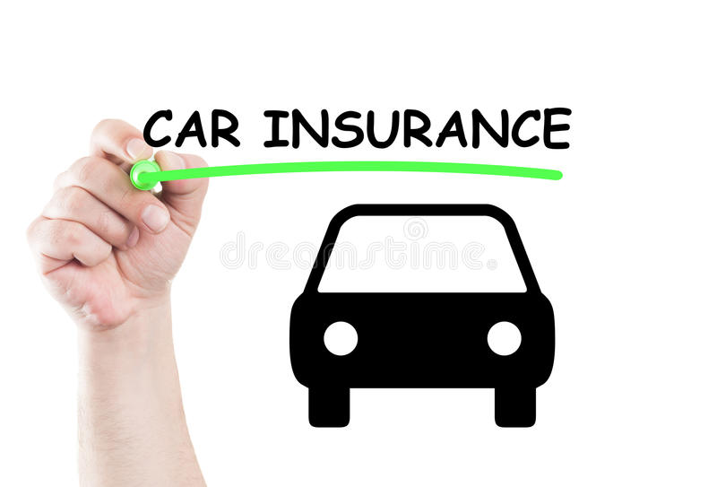 Car insurance. Concept text write on transparent wipe board by hand holding a marker stock photos