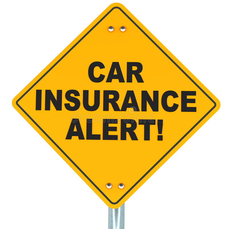 Car insurance concept. Yellow road sign warning about expiring policy stock illustration