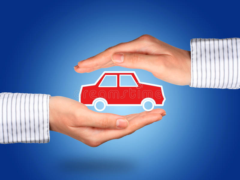 Car insurance. Hands and car. Car insurance concept royalty free stock image