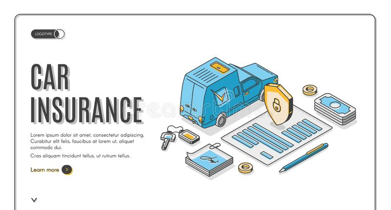 Car insurance isometric landing, auto protection royalty free illustration