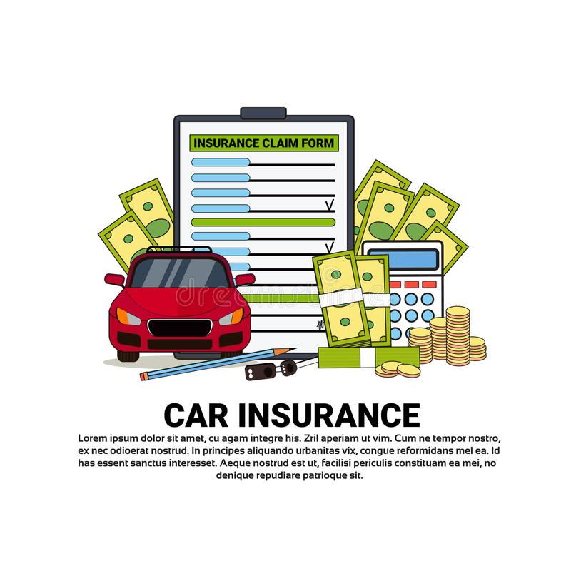 Car Insurance Service Banner With Copy Space Property Safety And Protection Concept. Vector Illustration stock illustration