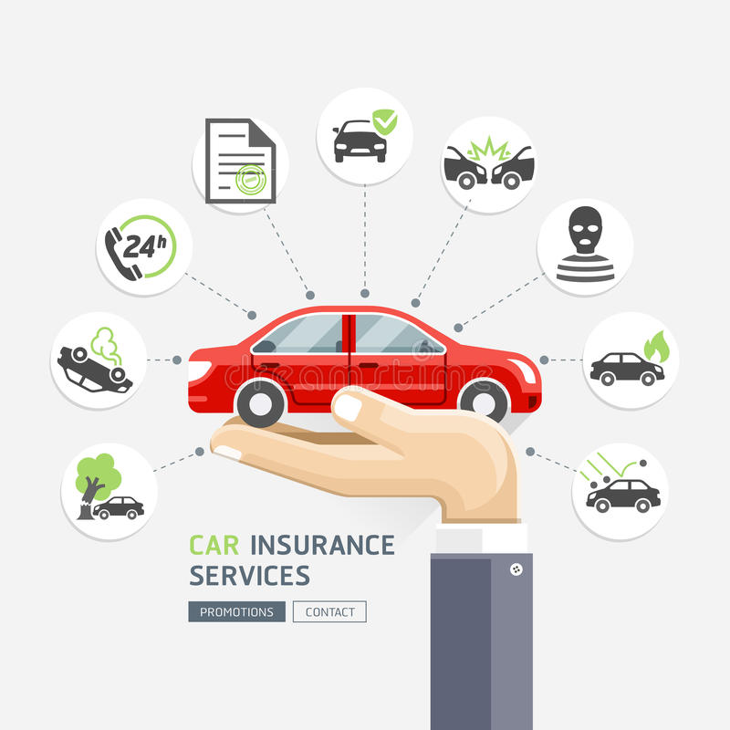Car insurance services. Business hands holding red car. vector illustration