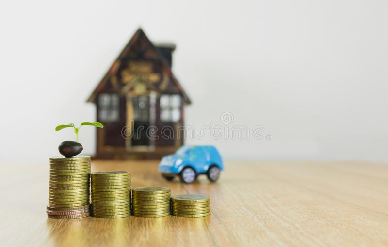 Car insurance and car services concept. Business concept. Toy car insurance concept stock photo