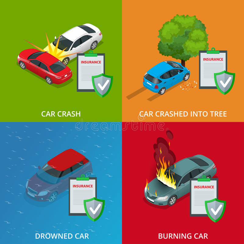 Car insurance services. Protection from danger, providing security. Vector isometric illustration flat design. Web. Banners for website vector illustration