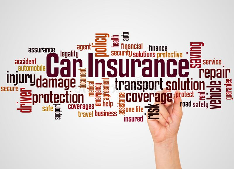 Car insurance word cloud and hand with marker concept stock illustration
