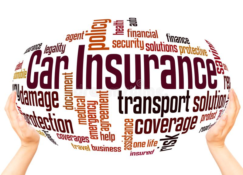 Car insurance word cloud sphere concept royalty free stock photo