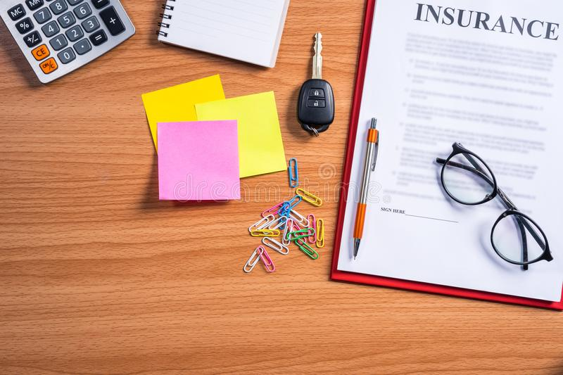 Car insurance working desk concept. royalty free stock photography