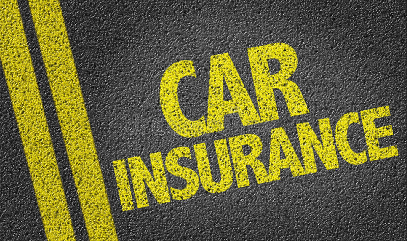 Car Insurance written on the road stock photography
