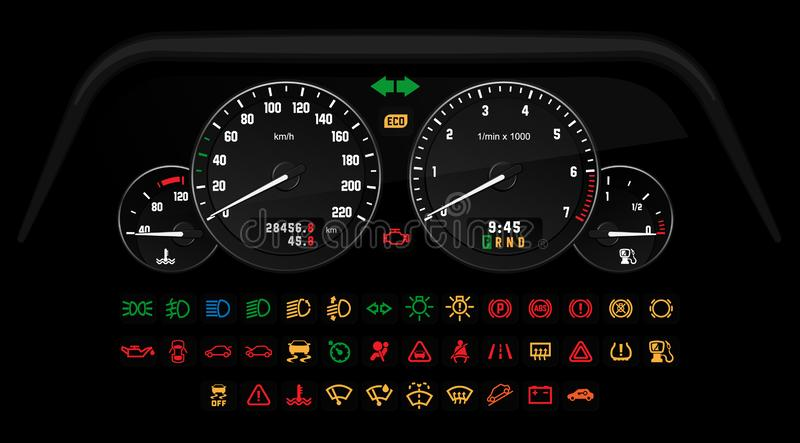 Car Interface Set. Car control interface with a set of information icons indicating the status of the car. Vector illustration, template for game or web app royalty free illustration