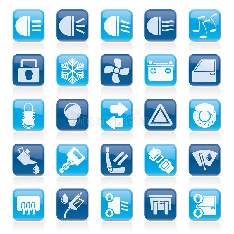 Car interface sign and icons. Vector icon set vector illustration