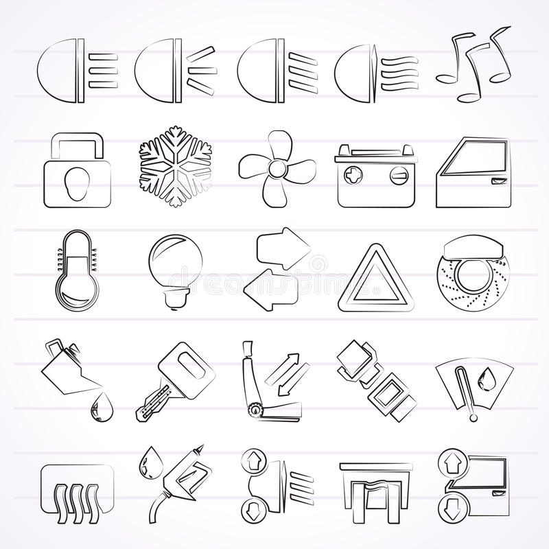 Car interface sign and icons. Vector icon set stock illustration