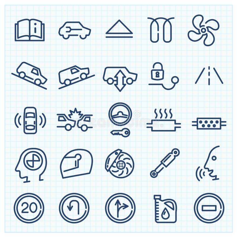 Car interface thin line icons set royalty free illustration