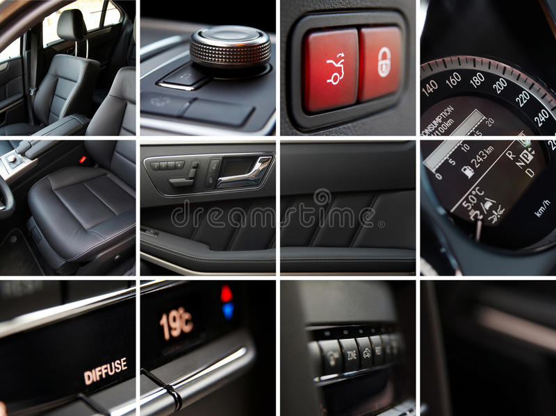 Car interior. Luxury car interior details collage stock image