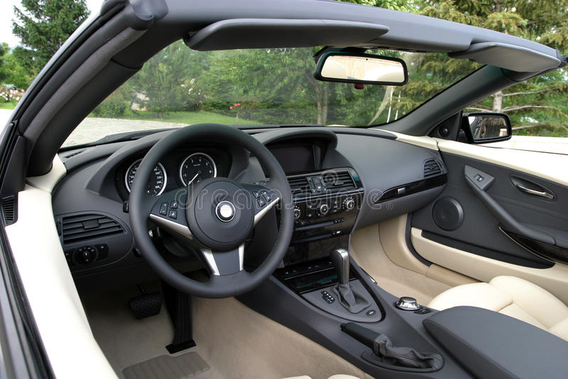 Car interior. Detail of a convertiblecar interior stock photo