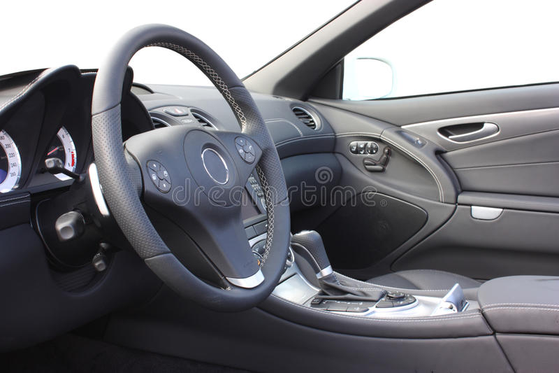 A car interior. Of a modern sports car royalty free stock photo