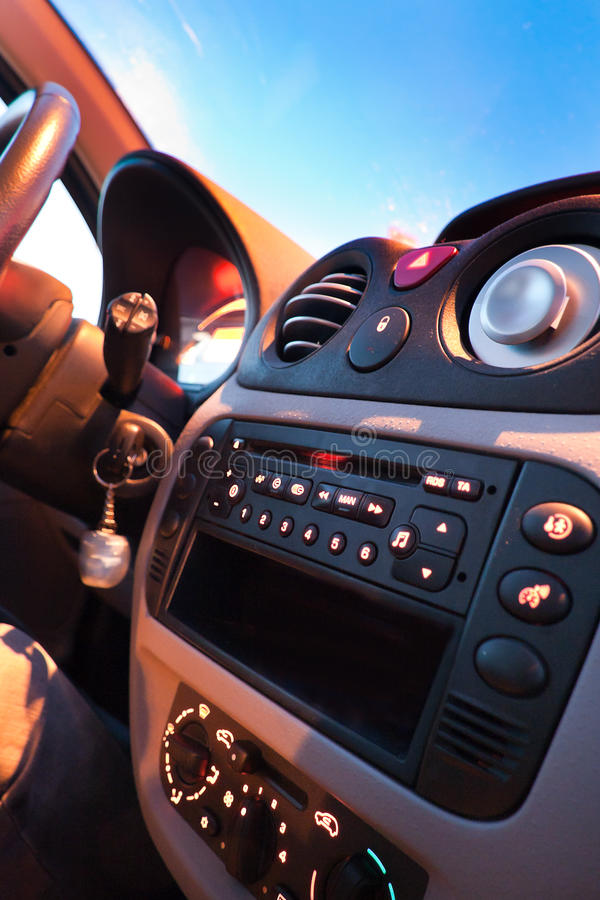 Car interior. With illuminated control system royalty free stock image