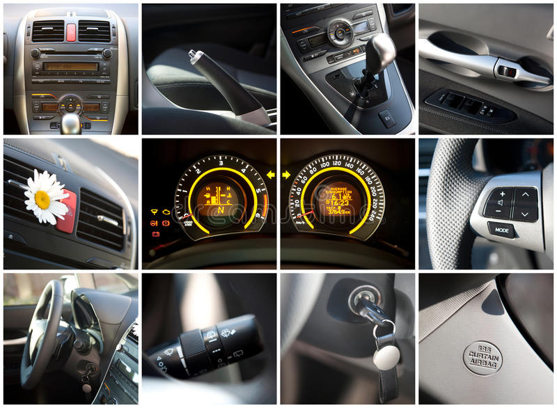Car interior. Collage details royalty free stock image