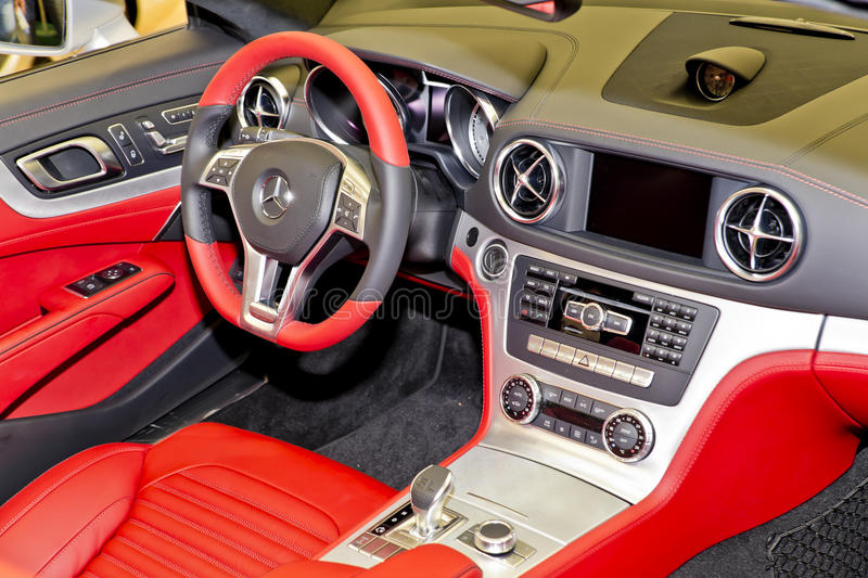 Car Interior. Mercedes SL 350 Roadster Interior At The International Auto-Moto Show In Bucharest (04 april - 08 april 2012 stock photography