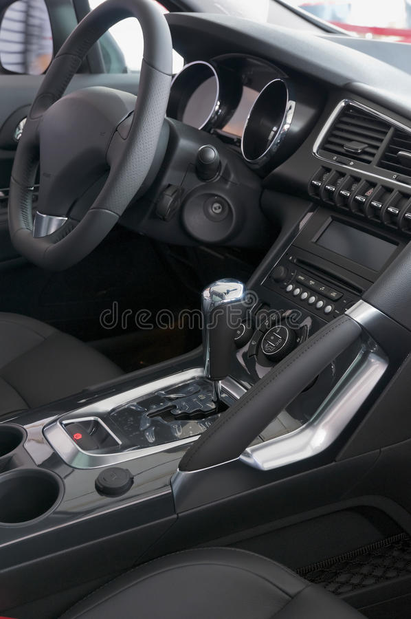 Car interior. Black Car interior of New Car stock image
