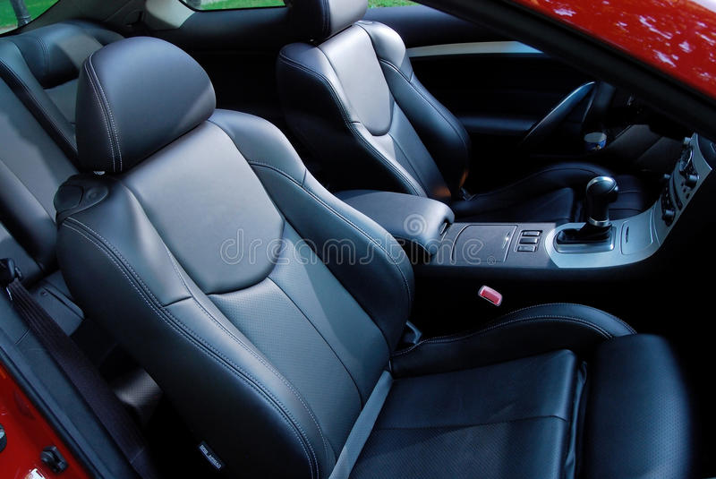 Car interior. With leather seats stock image