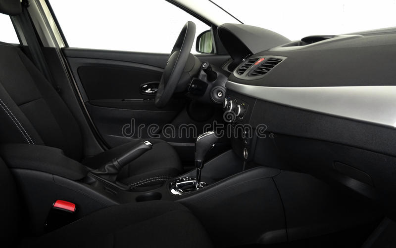 Car interior with automatic gearbox side view royalty free stock photography